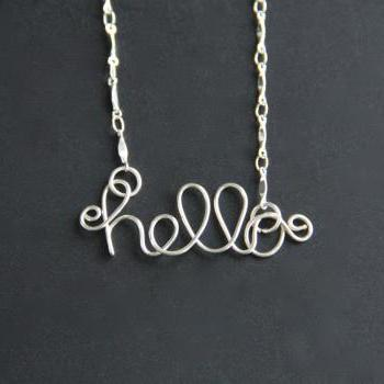 Hello Necklace Wire Word Jewelry
